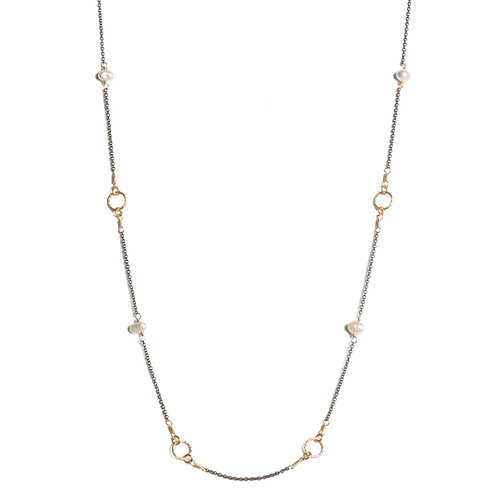 """18"""" Pearl Station Necklace by Tracy Arrington"""