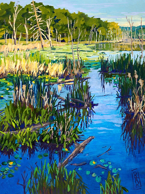 'Where the Loon Calls... And the Frog Answers' Framed Gouache by Ruth Kitchen