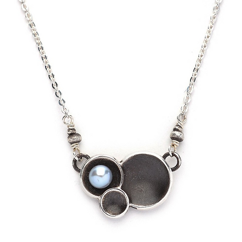 Triple Silver Cup with White Pearl Necklace by J & I -  DPX681N