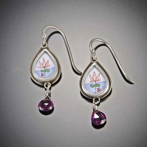 Tiny Lotus Earrings with Tourmaline by Ananda Khalsa