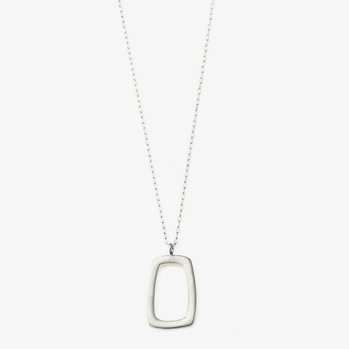 Stone Small Rectangle Silver Necklace by Philippa Roberts