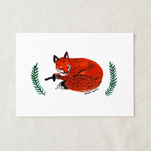 5 x 7 Red Fox Art Print by Wildship Studio
