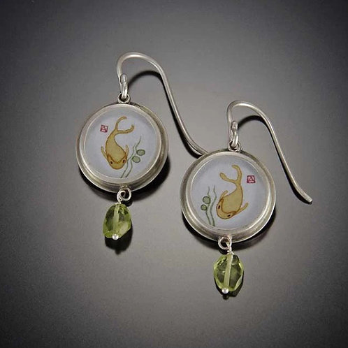 Koi Earrings with Peridot by Ananda Khalsa