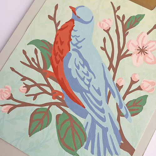 Bird on a Cherry Blossom Branch Paint-by-Number Kit by Elle Crée
