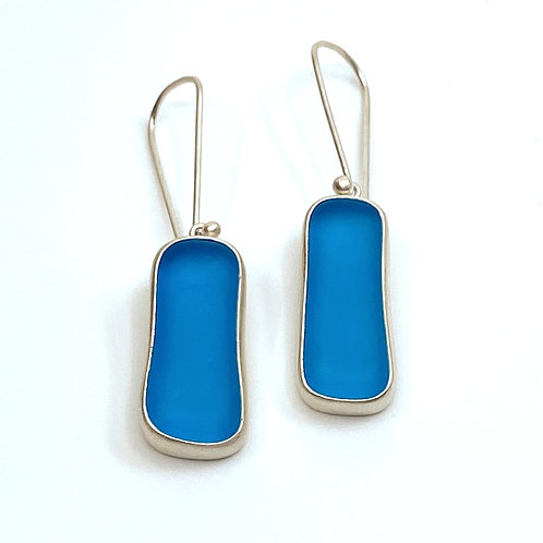 Bright Blue Beach Glass Wire Earrings by Sonja Grondstra