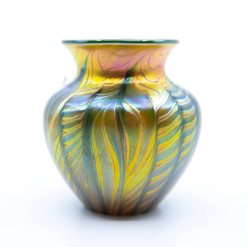 Small Art Glass Vase with Pulled Feather Design by Lundberg Studios