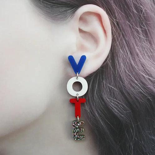'VOTE' Dangle Earrings by Rachel O