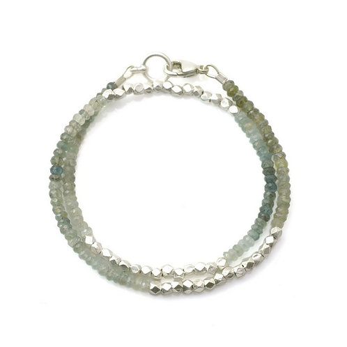 Swing Moss Aquamarine Wrap Bracelet by Philippa Roberts