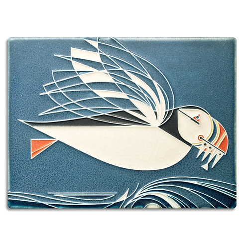 6x8 Puffin by Charley Harper for Motawi Tileworks
