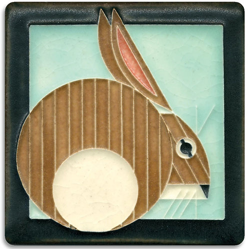 4x4 Brown Hare Tile by Charley Harper for Motawi Tileworks