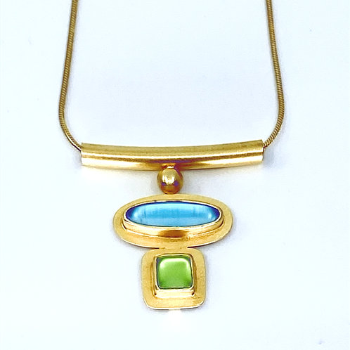 Aqua Lime Floating Necklace by Amy Faust