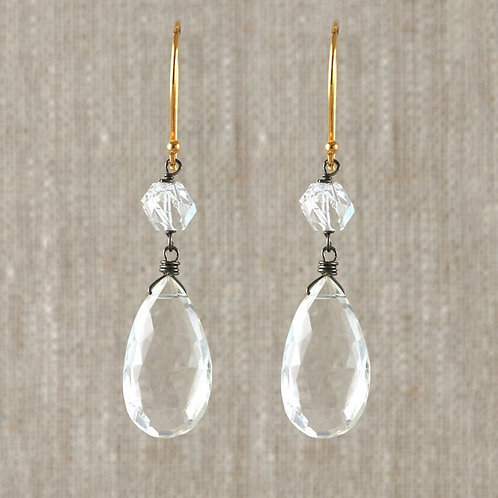 Crystal Quartz Herkimer Earrings by Alicia Van Fleteren