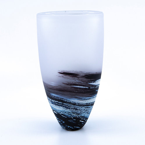 Black Rockpool Medium Vase by Teign Valley Glass