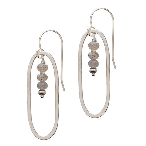 Sterling Oval with Three Labradorite Roundels Drop Earrings by J & I