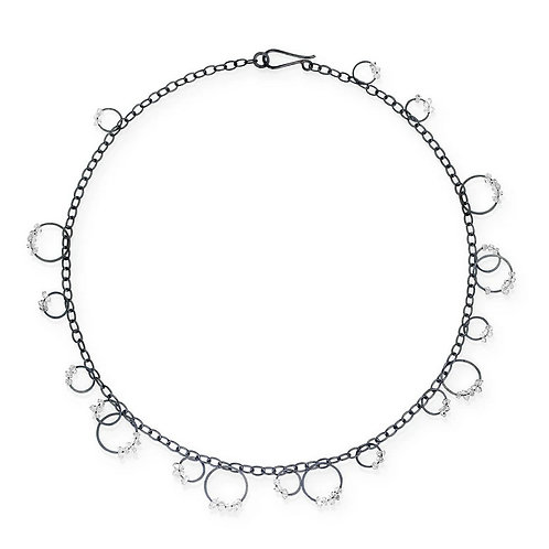 Circle Bunches with Herkimer Diamonds Necklace by Heather Guidero