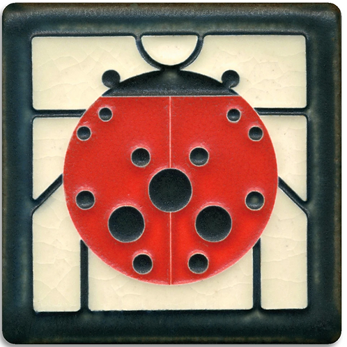 4x4 Ladybug with Border by Charley Harper for Motawi Tileworks
