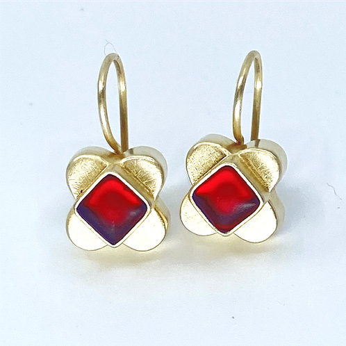 Bright Red Clover  Wire Earrings by Amy Faust