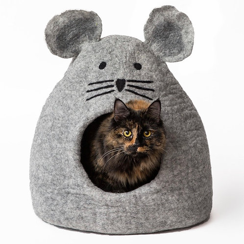 Gray Mouse Hand Felted Wool Pet Cave