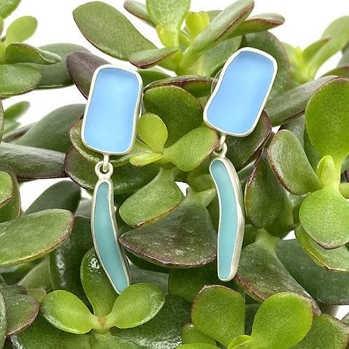 Periwinkle and Aqua Double Dangle Beach Glass Earrings by Sonja Grondstra
