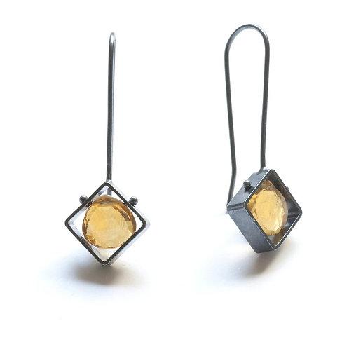 Mini Diagonal Earrings with Citrine by Ashka Dymel