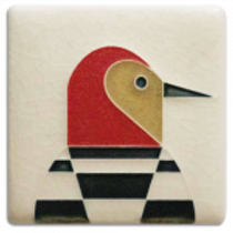 3x3 Woodpecker Tile by Charley Harper for Motawi Tilesworks