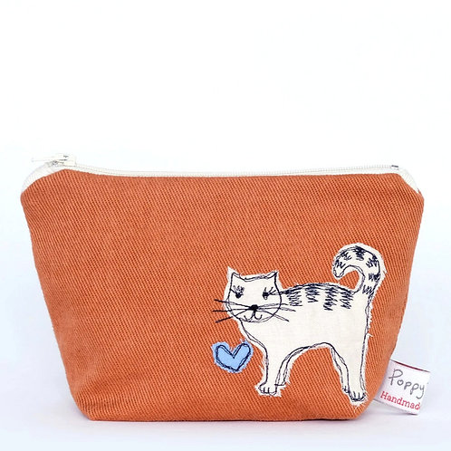 Little Embroidered Cat Makeup Bag by Poppy Treffrey