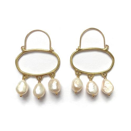Penelope Hoop Earrings with Pearls by Goldeluxe Jewelry