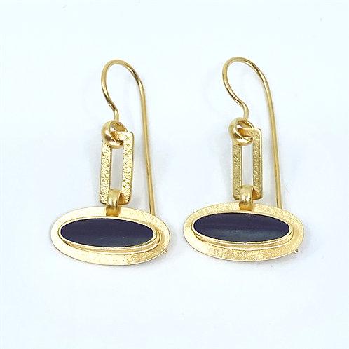 Black Elipse Dangle Earrings by Amy Faust