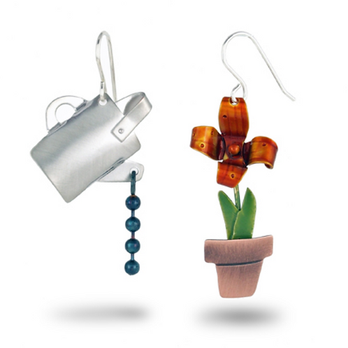 Watering Can & Flower Mismatched Earrings by Chickenscratch