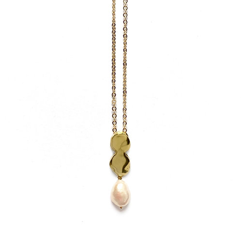 Allegory Slide Necklace with Pearl by Goldeluxe Jewelry