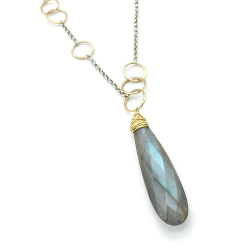 Faceted Labradorite Wrapped Stone Necklace by J & I - LGX201N