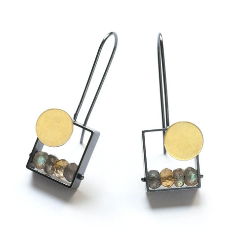 Sunset Earrings with Labradorite and Citrine by Ashka Dymel