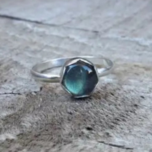 Blue Labradorite in Scallop Bezel Sterling Silver Ring by Gilded Bug