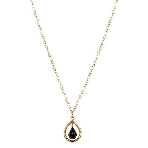 """18"""" Black Spinel Drop Necklace by Tracy Arrington"""