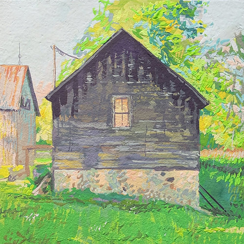 """'The Chicken Coop' Framed 6"""" x 6"""" Gouache by Justin Shull"""