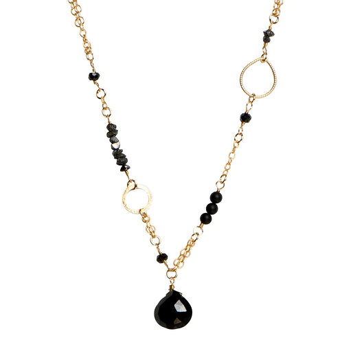 "18"" Black Onyx, Raw Diamond, and Spinel Necklace by Tracy Arrington"