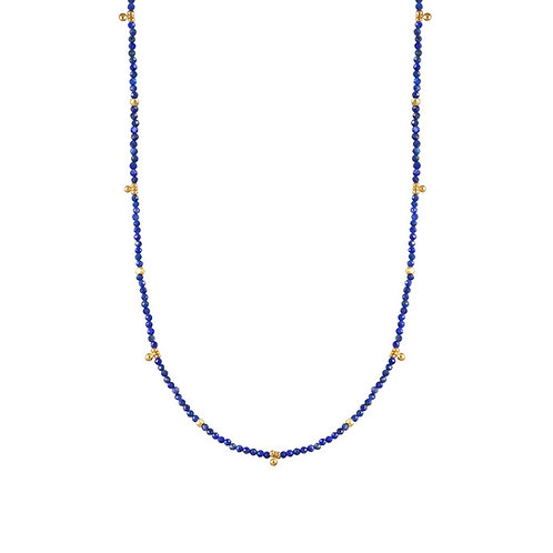Azure Lapis Tiny Gold Ball Charms Necklace by Alicia Van Flet
