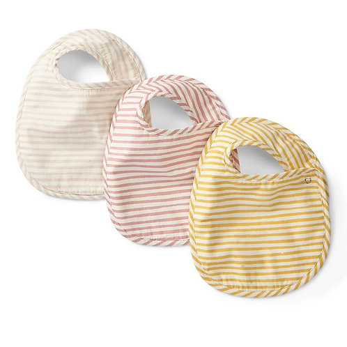 Petal Stripes Away Baby Bib Set of 3 by Pehr