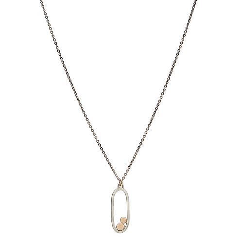 Sterling Oval with Gold Discs Necklace by J & I