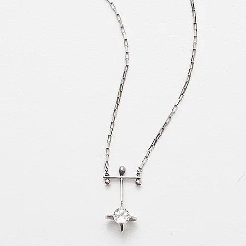 The 6mm Clutch White Topaz Necklace by Zuzko
