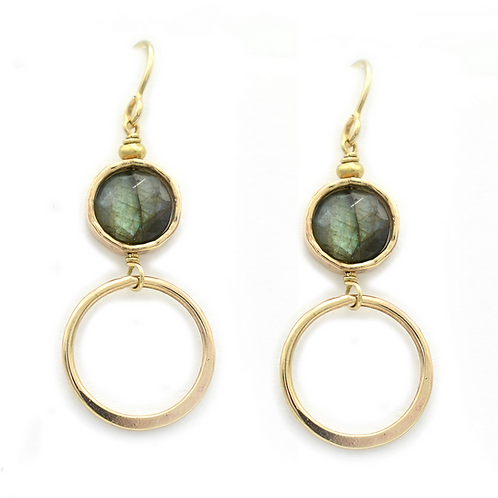 Labradorite Coin Earrings by J & I - LGX209E