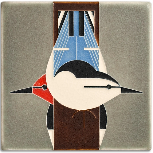 6x6 Upside Downside Tile by Charley Harper for Motawi Tileworks