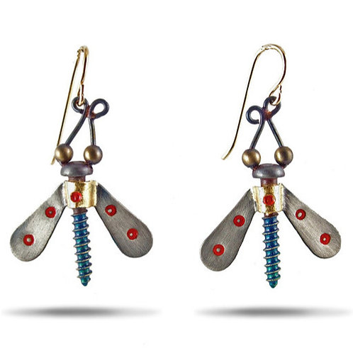 Winged Nut Earrings by Chickenscratch