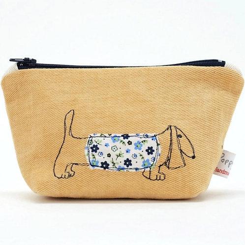 Little Embroidered Dachshund Makeup Bag by Poppy Treffrey