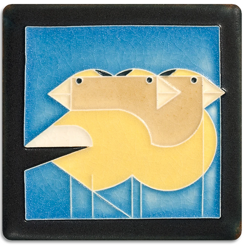 4x4 Gregarious Grosbeaks by Charley Harper for Motawi Tileworks