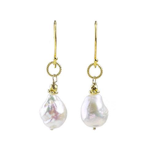 Aurora White Pearl Rope Link Earrings by Alicia Van Fleteren
