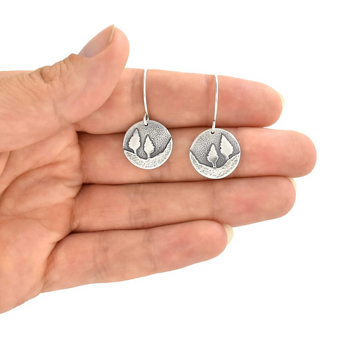 Conifer Couple Silver Dangle Earrings