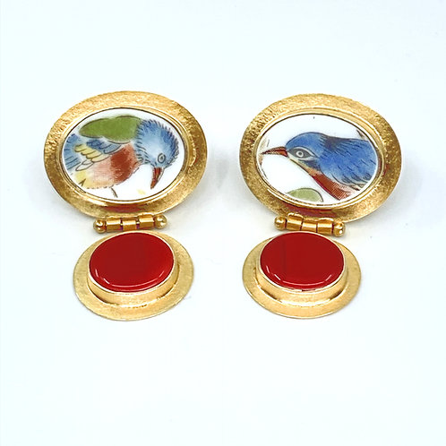 Vintage Bluebird Porcelain Hinged Post Earrings by Amy Faust