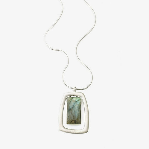Stone Large Rectangle with Labradorite Necklace by Philippa Roberts