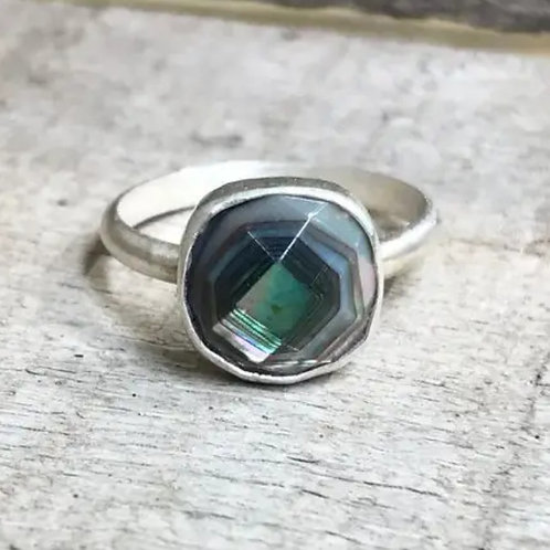 Cushion Cut Faceted Mother of Pearl Sterling Silver Ring by Gilded Bug